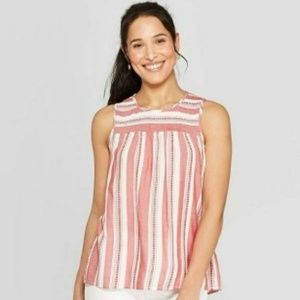 Women's Striped Sleeveless Scoop Neck Tank Top Wit